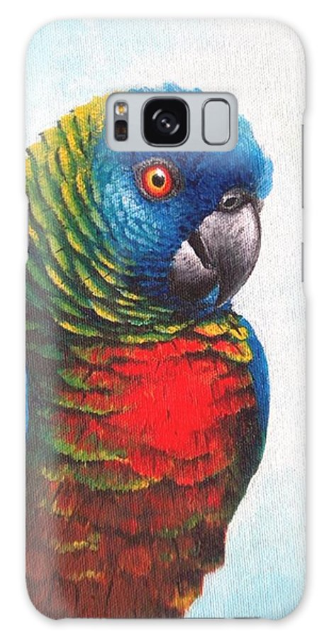 Chris Cox Galaxy S8 Case featuring the painting St. Lucia Parrot by Christopher Cox