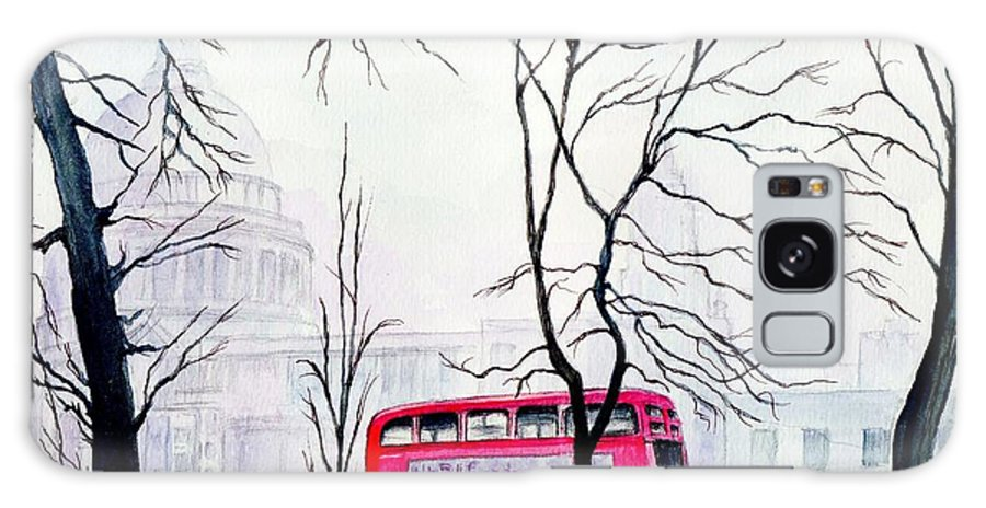 St Pauls Galaxy Case featuring the painting St Pauls Cathedral In The Mist by Morgan Fitzsimons