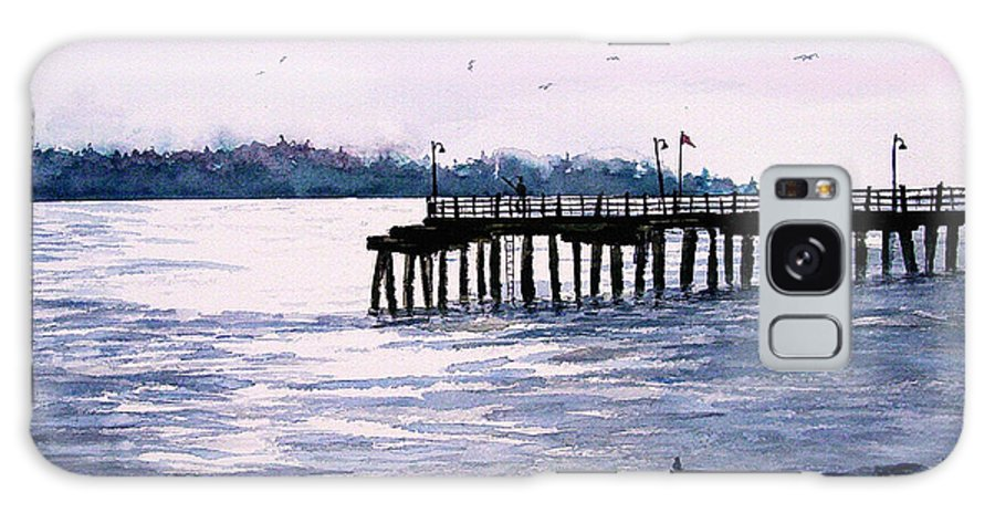 Fishing Galaxy S8 Case featuring the painting St. Simons Island Fishing Pier by Sam Sidders