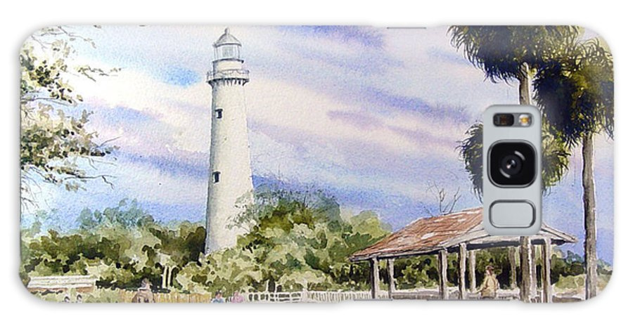 Lighthouse Galaxy S8 Case featuring the painting St. Simons Island Lighthouse by Sam Sidders