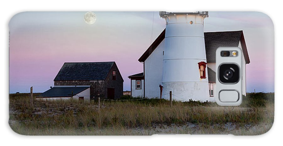 Moon Galaxy S8 Case featuring the photograph Stage Harbor Light Cape Cod by Bill Wakeley