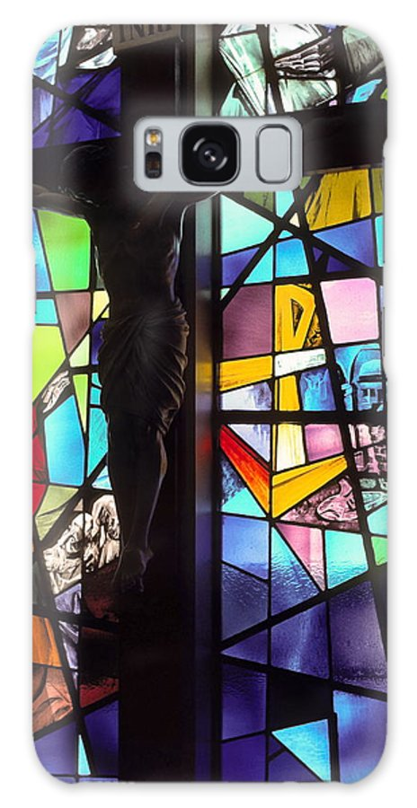 Stained Glass Window Galaxy S8 Case featuring the photograph Stained Glass With Crucifix Silhouette by Sally Weigand