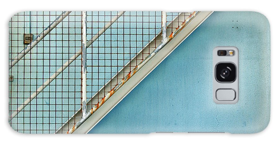 Stairs Galaxy S8 Case featuring the photograph Stairs On Blue Wall by Stephen Mitchell