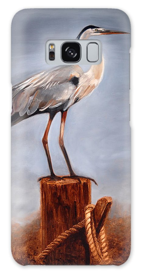 Heron Galaxy Case featuring the painting Standing Watch by Greg Neal