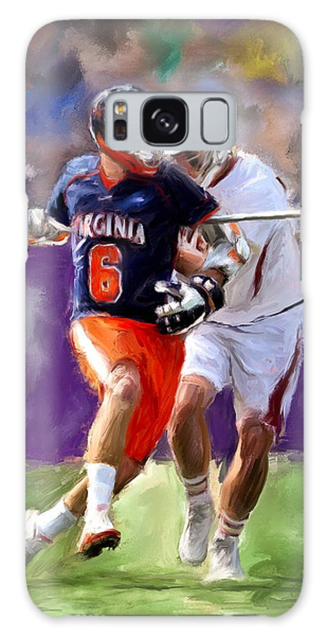 Lacrosse Galaxy S8 Case featuring the painting Stanwick Lacrosse by Scott Melby