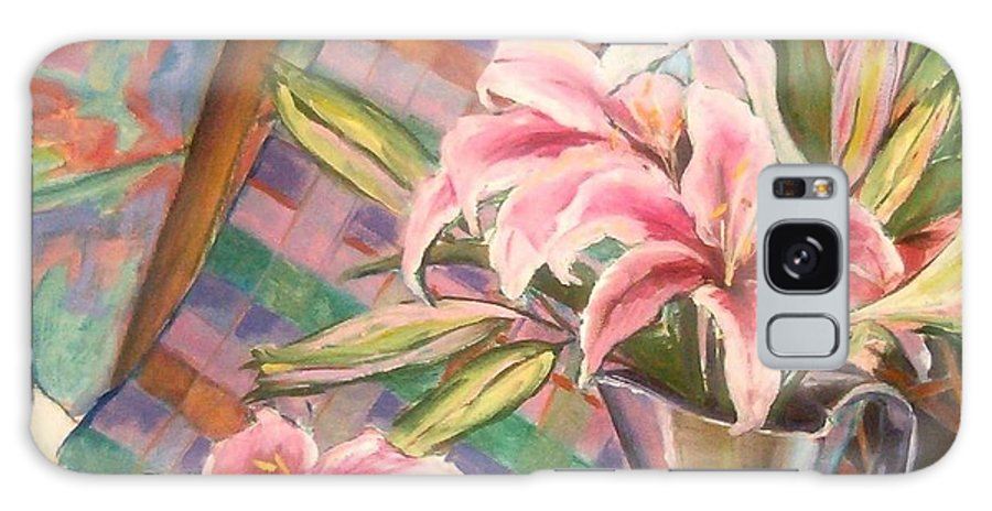 Still Life Galaxy S8 Case featuring the painting Star Lilies In The Studio by Deborah Carroll