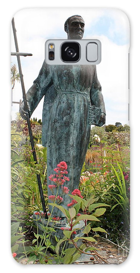 Father Serra Galaxy S8 Case featuring the photograph Statue Of Father Serra At Carmel Mission by Carol Groenen