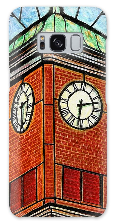 Clocks Galaxy Case featuring the painting Staunton Clock Tower Landmark by Jim Harris