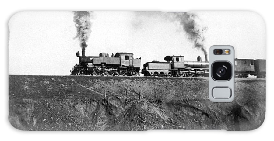 1920 Galaxy S8 Case featuring the photograph Steam Engines Pulling A Train by Underwood Archives