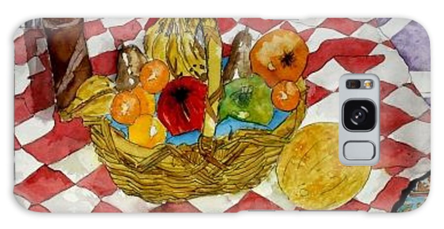 Still Life Watercolor Galaxy S8 Case featuring the painting Still Life Art Fruit Basket 3 by Derek Mccrea