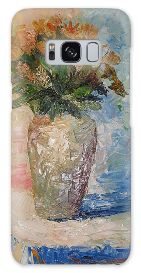 Still Life Vase Flowers Galaxy S8 Case featuring the painting Still Life Flowers by Maria Kobalyan