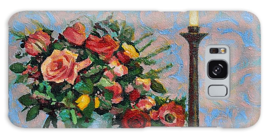 Flowers Galaxy Case featuring the painting Still Life With A Lamp by Iliyan Bozhanov