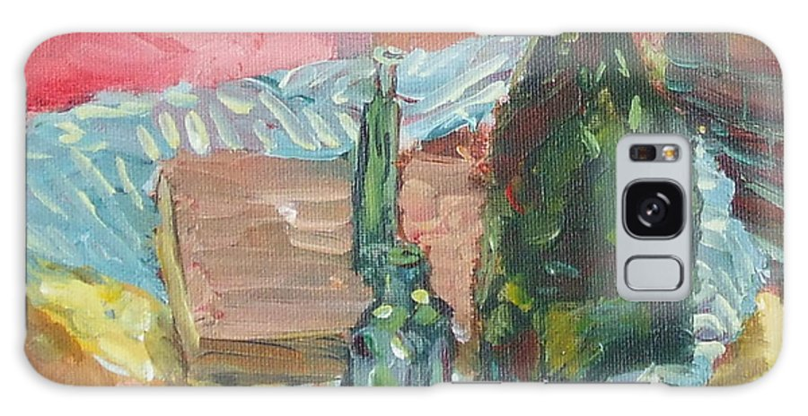 Bottle Galaxy S8 Case featuring the painting Still Life With Three Bottles by Claire Gagnon