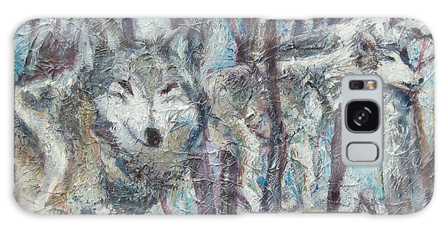 Wolves Galaxy S8 Case featuring the painting Still Of The Night by Sheila Holland