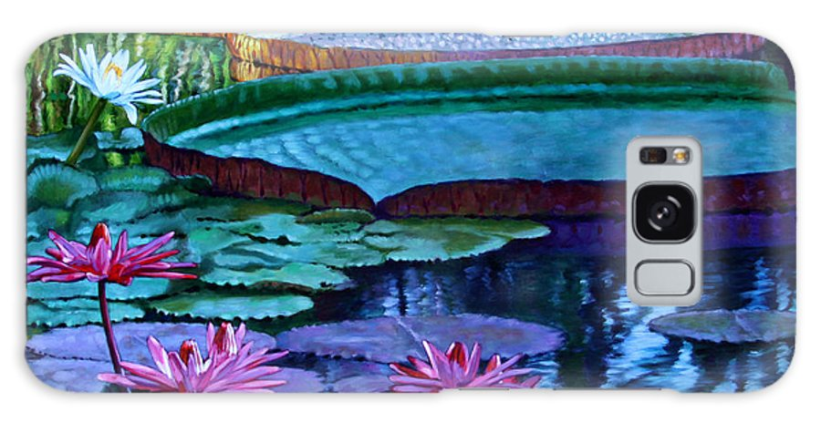 Garden Pond Galaxy S8 Case featuring the painting Stillness Of Color And Light by John Lautermilch