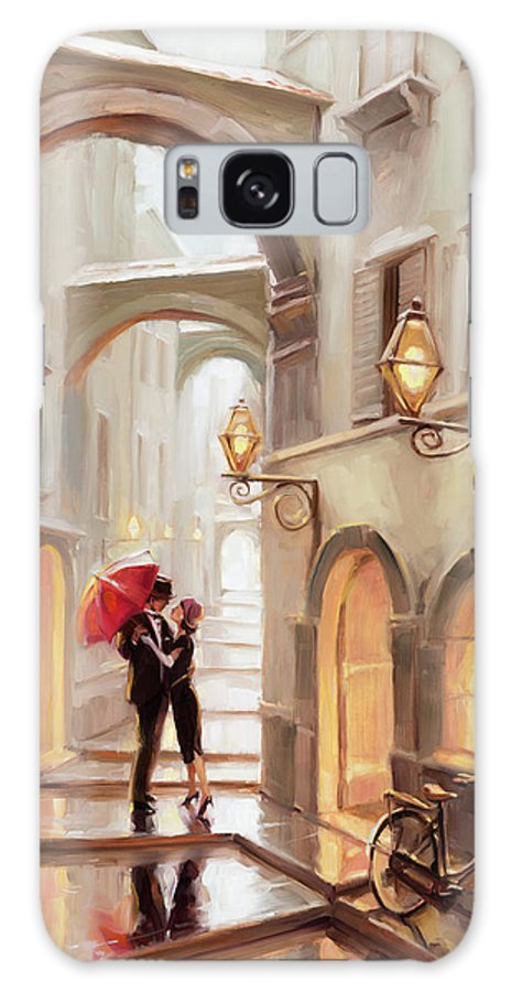 Love Galaxy Case featuring the painting Stolen Kiss by Steve Henderson