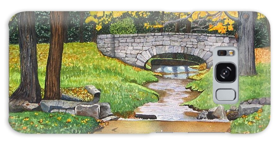 Landscape Galaxy S8 Case featuring the painting Stone Bridge by Sharon Farber
