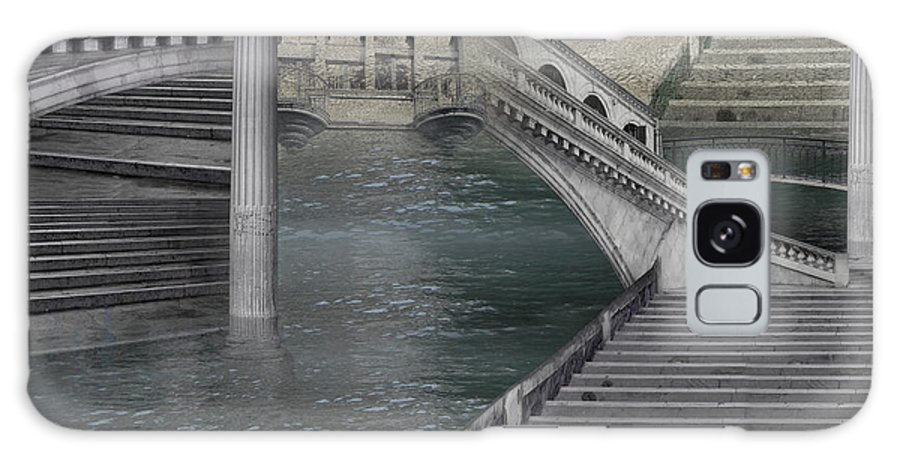 Stone Grey Pillar Bridge Sea Pavement Monochrome Surrealism Magic Italy Fantastic Silver Legend Way Galaxy S8 Case featuring the photograph Stone Labyrinth by Desislava Draganova