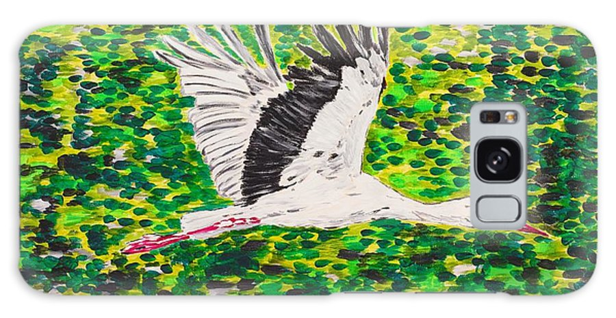 Stork Galaxy Case featuring the painting Stork In Flight by Valerie Ornstein