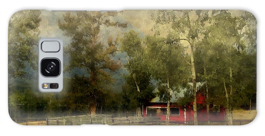 Landscape Galaxy S8 Case featuring the painting Storm Approaching White Birch Cottage by RC DeWinter