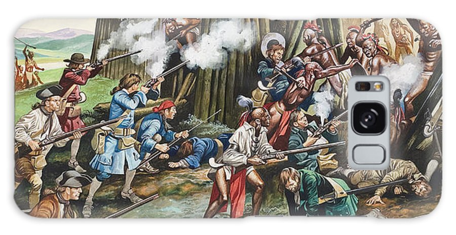 American Indian; Native; Soldier; Gun; Fortress; Axe; Tribe; Troop; Musket; Smoke; Fence; Fighting; Attack; Casualty; North Carolina; Battle; Siege; Revolt; Children's Illustration; Cherokee; Fort Galaxy S8 Case featuring the painting Storming Of The Fortress Of Neoheroka by Ron Embleton
