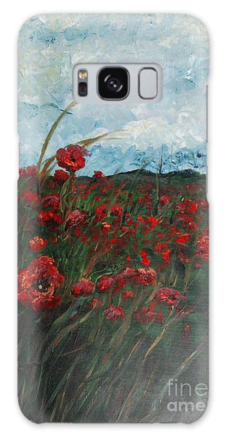 Poppies Galaxy S8 Case featuring the painting Stormy Poppies by Nadine Rippelmeyer