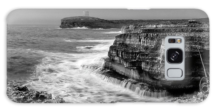 Storm Galaxy S8 Case featuring the photograph stormy sea - Slow waves in a rocky coast black and white photo by pedro cardona by Pedro Cardona Llambias