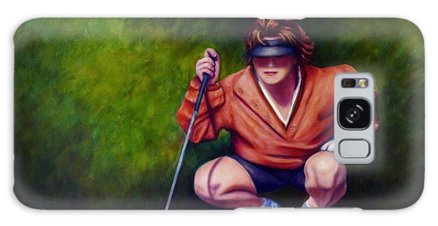 Golfer Galaxy S8 Case featuring the painting Straightshot by Shannon Grissom