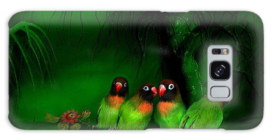 Lovebird Galaxy S8 Case featuring the mixed media Strange Love by Carol Cavalaris