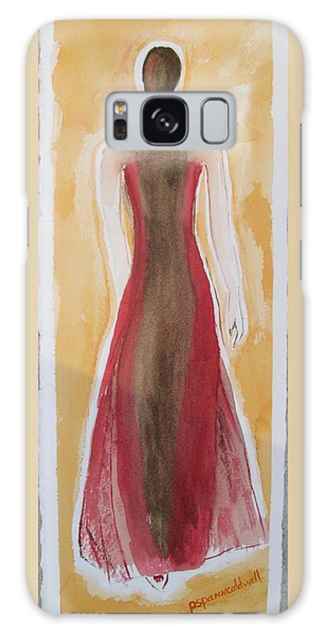 Dress Lady Red Yellow Fashion Galaxy S8 Case featuring the painting Stranger by Patricia Caldwell