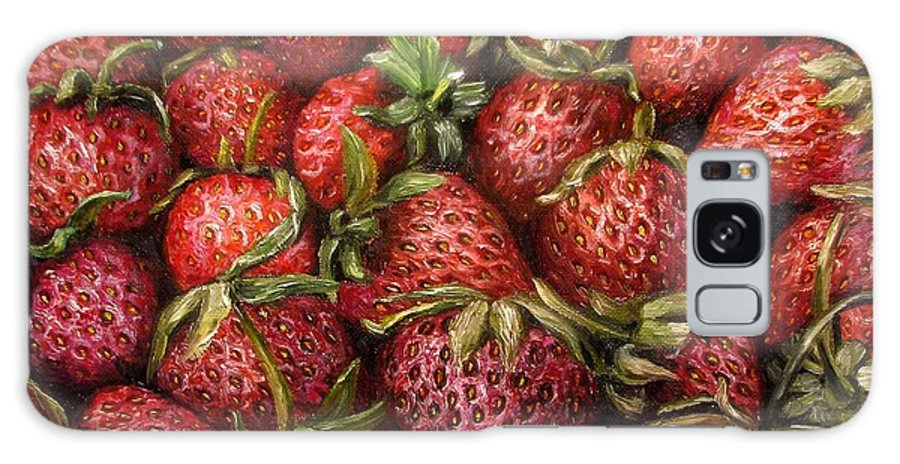 Garden Galaxy Case featuring the painting Strawberries -2 contemporary oil painting by Natalja Picugina
