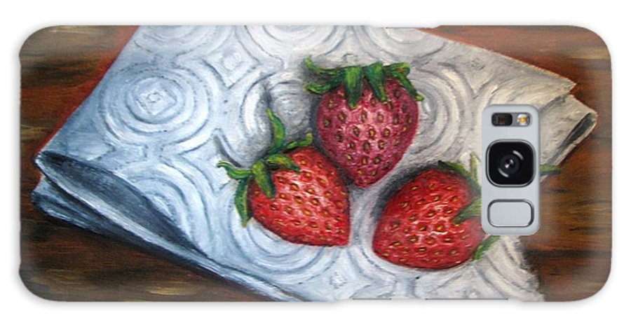 Strawberries Galaxy S8 Case featuring the painting Strawberries-3 Contemporary Oil Painting by Natalja Picugina