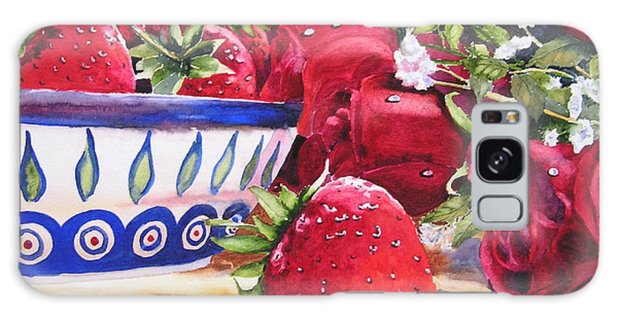 Strawberries Galaxy Case featuring the painting Strawberries And Roses by Karen Stark