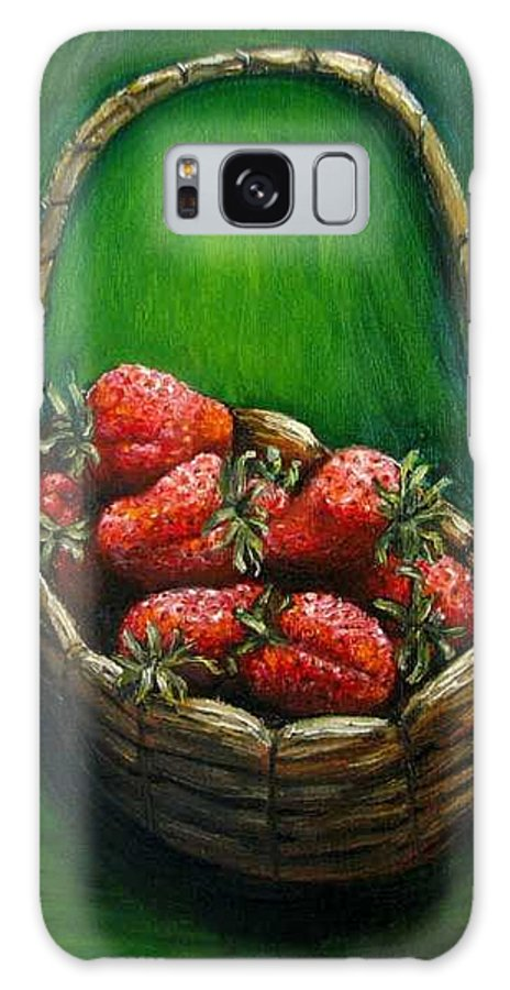 Strawberries Galaxy S8 Case featuring the painting Strawberries Contemporary Oil Painting by Natalja Picugina