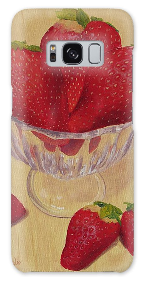 Strawberry Galaxy S8 Case featuring the painting Strawberries In Crystal Dish by Nancy Nale