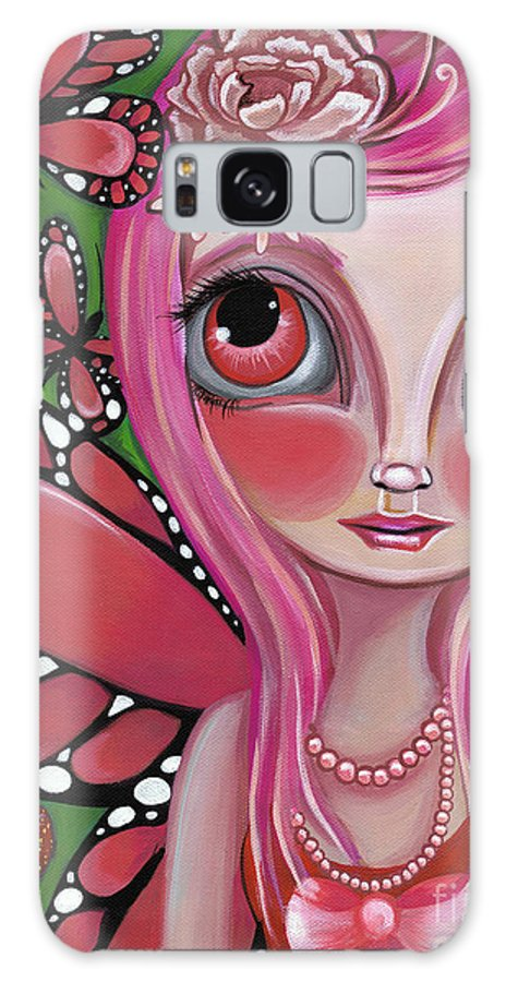 Art Galaxy S8 Case featuring the painting Strawberry Butterfly Fairy by Jaz Higgins