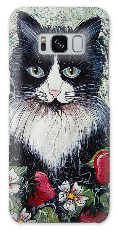 Cat Galaxy Case featuring the painting Strawberry Lover Cat by Natalie Holland