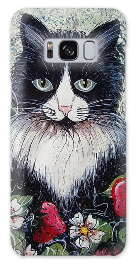 Cat Galaxy S8 Case featuring the painting Strawberry Lover Cat by Natalie Holland