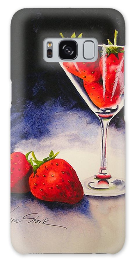 Strawberry Galaxy Case featuring the painting Strawberrytini by Karen Stark