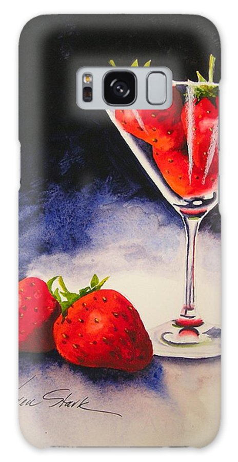 Strawberry Galaxy S8 Case featuring the painting Strawberrytini by Karen Stark