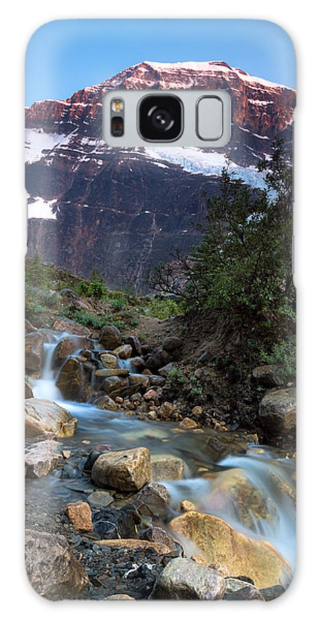 Jasper Galaxy S8 Case featuring the photograph Stream And Mt. Edith Cavell At Sunset by Cale Best