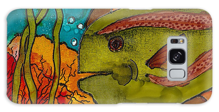Fish Galaxy S8 Case featuring the painting Striped Fish by Susan Kubes
