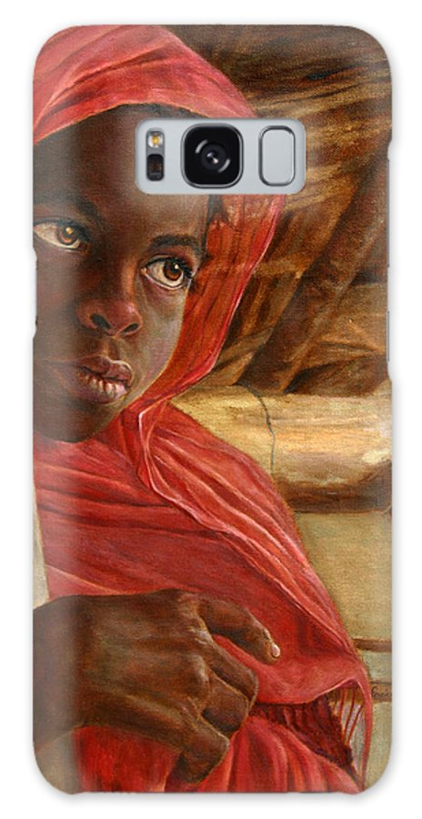 Children Painting Galaxy Case featuring the painting Sudanese Girl by Enzie Shahmiri