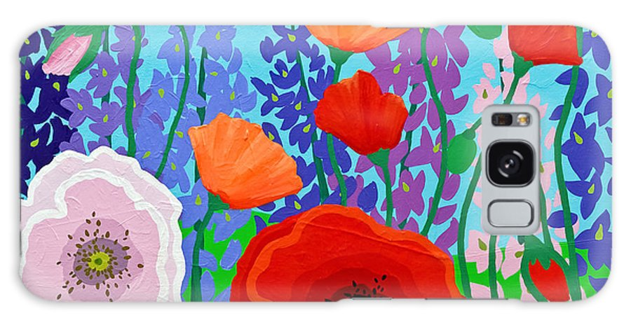 Florals Galaxy S8 Case featuring the painting Sue's Flower Bed by Linda Rauch