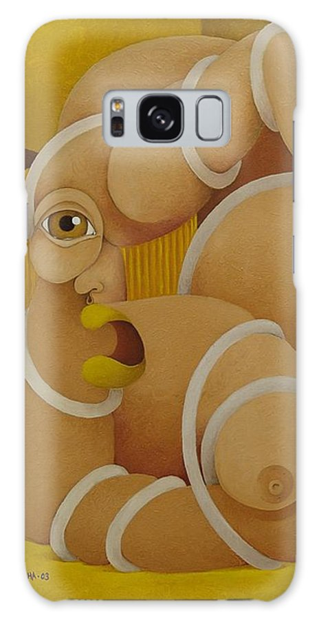 Sacha Galaxy Case featuring the painting Suffering Woman 2003 by S A C H A - Circulism Technique