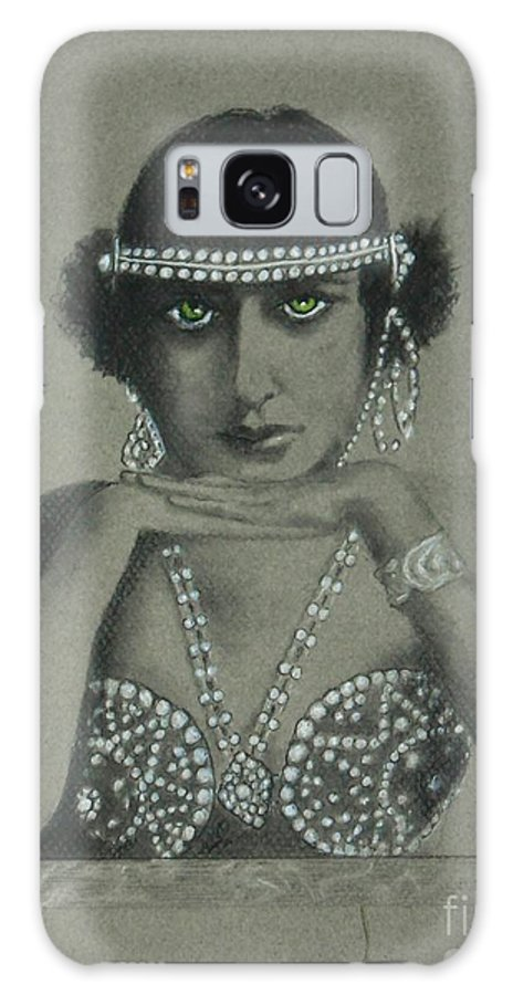 1920's Galaxy S8 Case featuring the drawing Sultry Silent Star -- Portrait Of Silent Film Star by Jayne Somogy