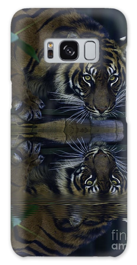 Sumatran Tiger Galaxy S8 Case featuring the photograph Sumatran Tiger Reflection by Sheila Smart Fine Art Photography