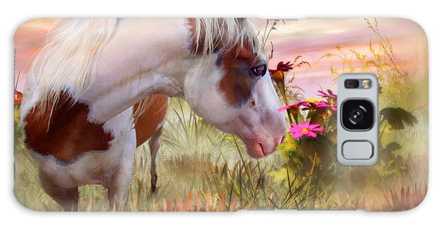 Horse Galaxy S8 Case featuring the mixed media Summer Blooms by Carol Cavalaris