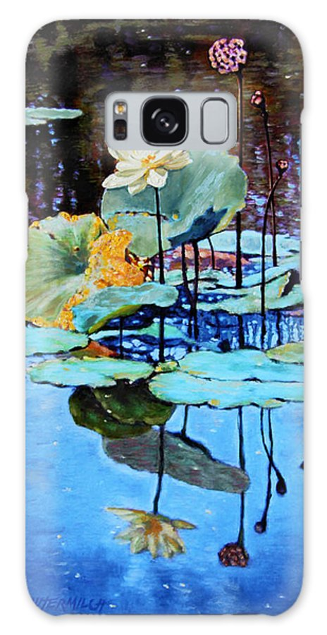 Lotus Flower Galaxy Case featuring the painting Summer Calm by John Lautermilch