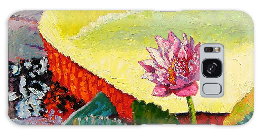 Water Lily Galaxy S8 Case featuring the painting Summer Colors on the Pond by John Lautermilch